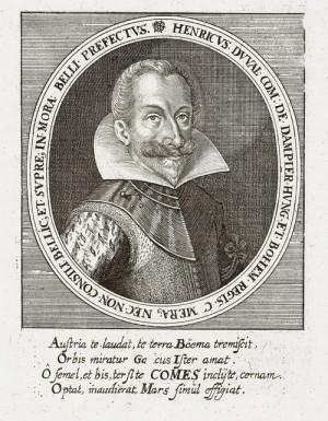 Generální lajtnant císařského vojska, ofenzivní a rázný Jindřich Duval hrabě Dampierre na rytině z Theatra Europaea.