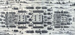 Jak mohlo vypadat tažení do Čech, ukazuje rytina z dobové příručky císařského generála Giorgia Basty, který zobrazuje tažení vojska složeného z pěchoty, jezdectva a dělostřelectva.