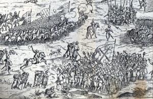 S císařským vojskem táhlo kromě vojáků také cca 150 zákopníků: Ukázka zákopnické jednotky v příručce Leonharda Fronsbergera z 2. poloviny 16. století.