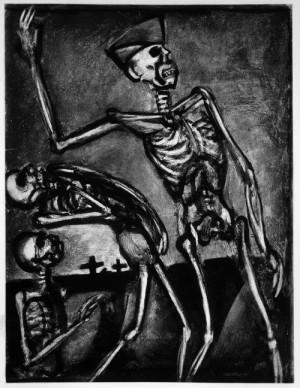 Georges Rouault (1871–1958): ze série Bída a válka, list. č. 54, akvatinta a suchá jehla na papíře, 1927, publikováno až v roce 1948! FOTO: Fondation Georges Rouault