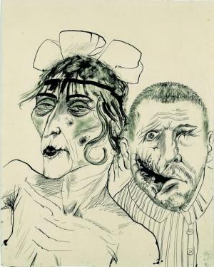Otto Dix (1891–1969): Prostitutka a invalidní válečný veterán. Dvě oběti kapitalismu, 1923, tužka a inkoust na kartonu. FOTO: LWL- Museum für Kunst and Kultur (Westfälisches Landesmuseum) / Sabine Ahlbrand-Dornseif. © Estate of Otto Dix 2018.