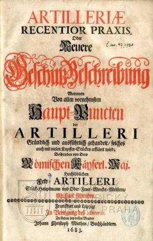 Titulní list Artilleriae recentior praxis.