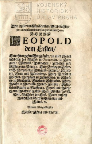 Dedikace knihy Leopoldovi I. Habsburskému.