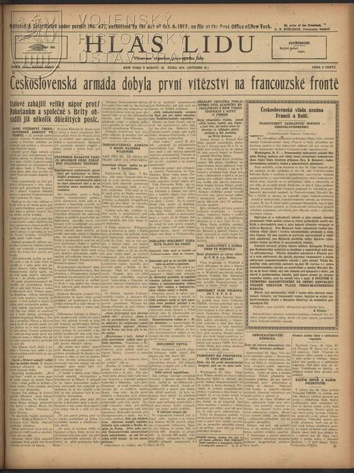 Hlas lidu z 26. října 1918