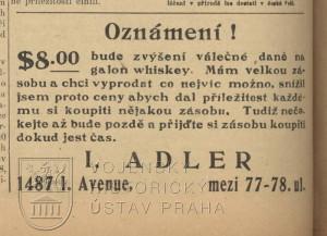 Reklama lákající na skupování whisky před zvýšením válečné daně.