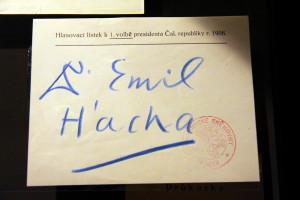 Volební hlas pro Emila Háchu