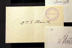 Volební hlas pro TGM - všimněte si, že autor napsal Masaryk s měkkým i.