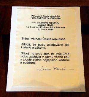Prezidentský slib signovaný Václavem Havlem