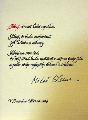 Prezidentský slib Miloše Zemana z roku 2018