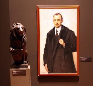 Portrét Edvarda Benše z roku 1917 a socha s názvem Československá republikia