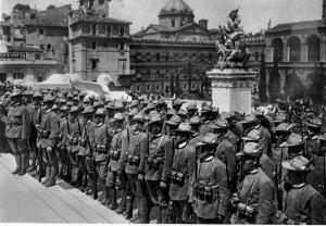 Slavnostní odevzdání praporu čs. vojsku v Itálii, 15. květen 1918