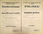Kontrolní otisk vyhlášky o stanném právu nad Prahou a okolím, 1918