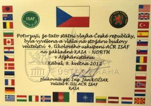 Státní vlajka České republiky od 4. úkolové uskupení AČR ISAF