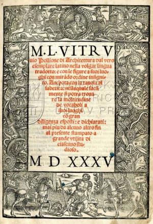 Titulní list Vitruviovy publikace v italském překladu.