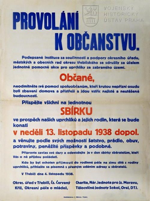 Vyhláška o sbírce ve prospěch uprchlíků, 1938
