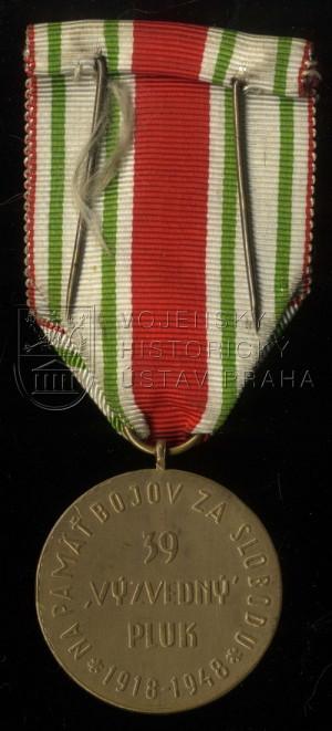 """Pamětní medaile 39. pěšího pluku """"Výzvědného"""