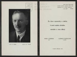 """Úmrtní oznámení z roku 1942. Dle oficiální zprávy zemřel umučený Kudela na """"srdeční slabost""""."""