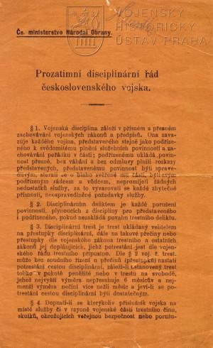 Prozatímní disciplinární řád československého vojska, 1918