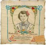 Vyšívaný šátek s věnováním k Vánocům, 1915
