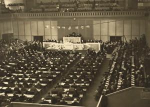Plenární zasedání Společnosti národů v Ženevě – v těchto prostorách se v poválečných letech uskutečňoval politicko-diplomatický zápas o kolektivní bezpečnost ve světě. FOTO: sbírka VHÚ Praha