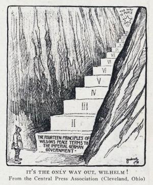Karikatura týkající se Wilsonových 14 bodů, které měly zajistit mírové řešení a pořádky po válce (viz nápis na prvním schodu)