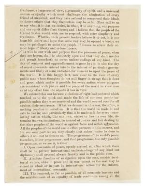 Vytištěných 14 bodů amerického prezidenta Wilsona, které přednesl v Kongresu v lednu 1918. Jednalo se o program zabývající se mezinárodním uspořádáním po válce.