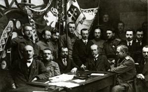 Členové OČSNR přísahali v Kyjevě věrnost národu a T. G. Masarykovi v boji za samostatnost 30. ledna 1918. (VHÚ Praha)