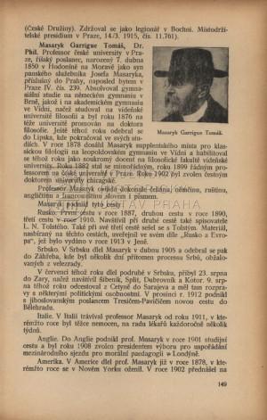 První strana záznamu T. G. Masaryka.