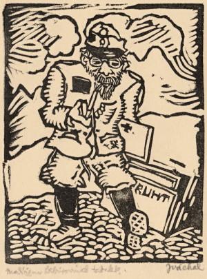 Autoportrét Josefa Váchala na sočské frontě v roce 1917. Ve svém literárním díle se Váchal ironicky stylizoval do role notorického švindlíře a lze tak předpokládat, že zmíněnému diskursu odpovídá i tento dřevoryt. FOTO: VHÚ Praha