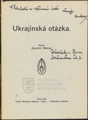 Titulní strana s věnováním od Jaromíra Nečase.