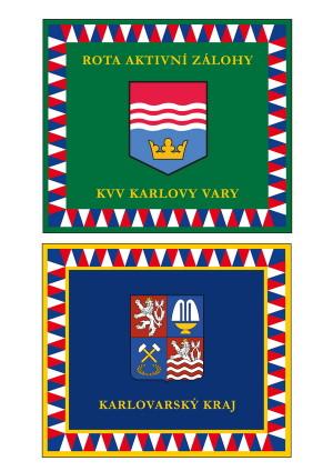 Prapor pěší roty Aktivní zálohy Krajského vojenského velitelství Karlovy Vary.
