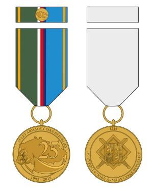 Pamětní medaile 25. výročí vzniku Armády České republiky.