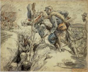 František Kupka: Smrt praporečníka Bezdíčka a dobrovolníka Šíbala u Arrasu 9. května 1915, ruční papír, tužka, akvarel.