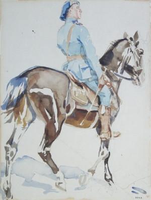 František Kupka: Jízdní důstojník 21. čs. střeleckého pluku, 1918, papír, akvarel.