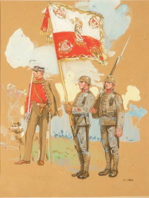 František Kupka: Návrh stejnokrojů pro příslušníky pěších pluků čs. armády, 1918, papír, kvaš, akvarel.