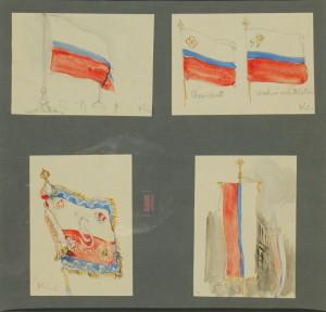 František Kupka: Návrh státní vlajky RČS, vlajky Vrchního velitelství, plukovního praporu a prezidentské korouhve, 1919, papír, akvarel.