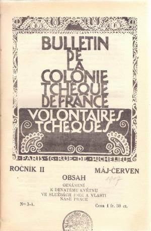 Titulní strana časopisu České kolonie v Paříži, květen 1917.