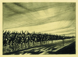 C. R. W. Nevinson: Kolona na pochodu; 1916. FOTO: © the Trustees of the British Museum