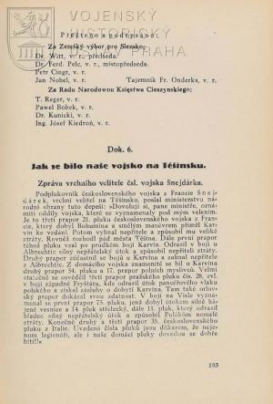 První polovina Šnejdárkovy zprávy o tom, jak se bilo naše vojsko na Těšínsku.