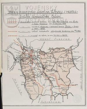 Mapka sporného území Těšínska s demarkačními liniemi.