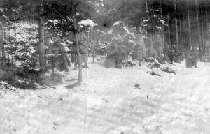 Čs. vojáci u Golešova před Těšínem v únoru 1919