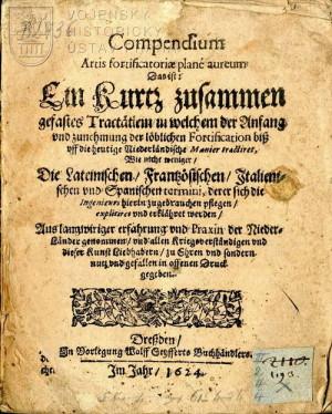 Titulní strana takřka totožné publikace Compendium artis fortificatoriae.