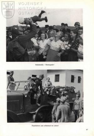 Vojáci Wehrmachtu v družném kontaktu s nadšeným obyvatelstvem – učebnicový příklad propagandistických snímků.
