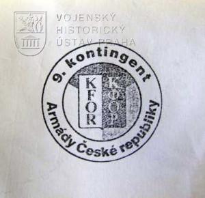 Razítko 9. kontingentu AČR v silách KFOR, Kosovo 2006 – 2007