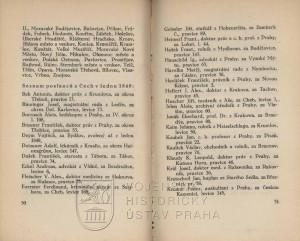 Začátek seznamu poslanců z Čech z ledna 1849.