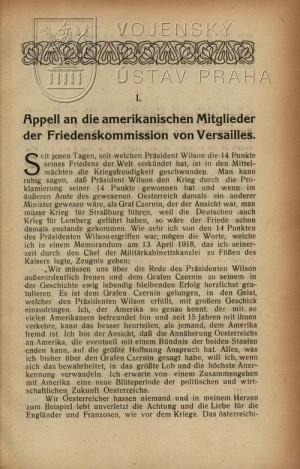 První kapitola: Apel na americké členy mírové komise ve Versailles.