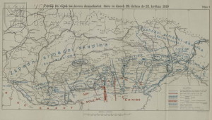 Mapa vojenských operací od konce dubna 1919.