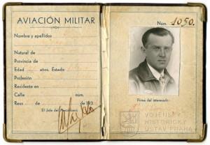 Legitimace Aviación Militar na jméno Karel Vejvoda