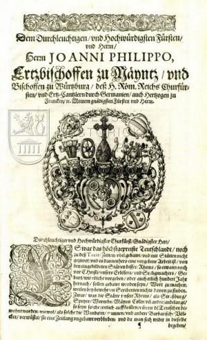 Dedikace Johannu Philippovi von Schönborn (1605–1673), arcibiskupovi míšeňskému.