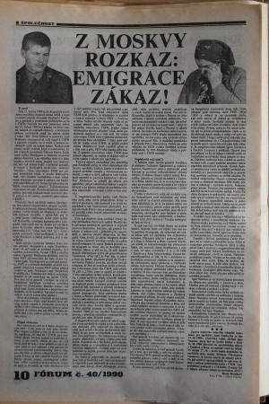 Téma sovětských zběhů rezonovalo českými médii, zde článek z časopisu Fórum z počátku listopadu 1990.
